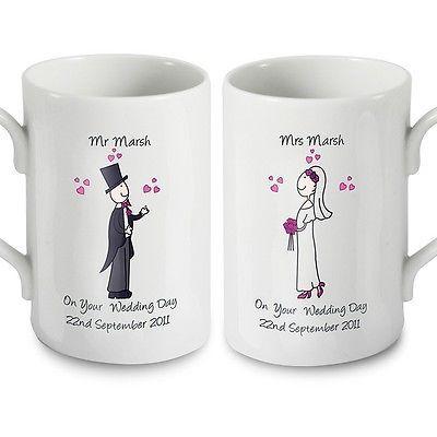 PERSONALISED Wedding Mugs Set Bride And Groom Mr Mrs WEDDING GIFT Couple