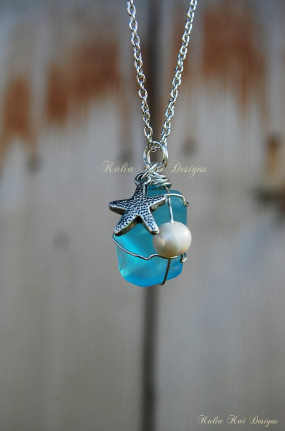 Sea glass pendant necklace wire wrapped sea glass starfish charm sea glass pendant necklace wire wrapped sea glass starfish charm silver plated aloadofball Choice Image