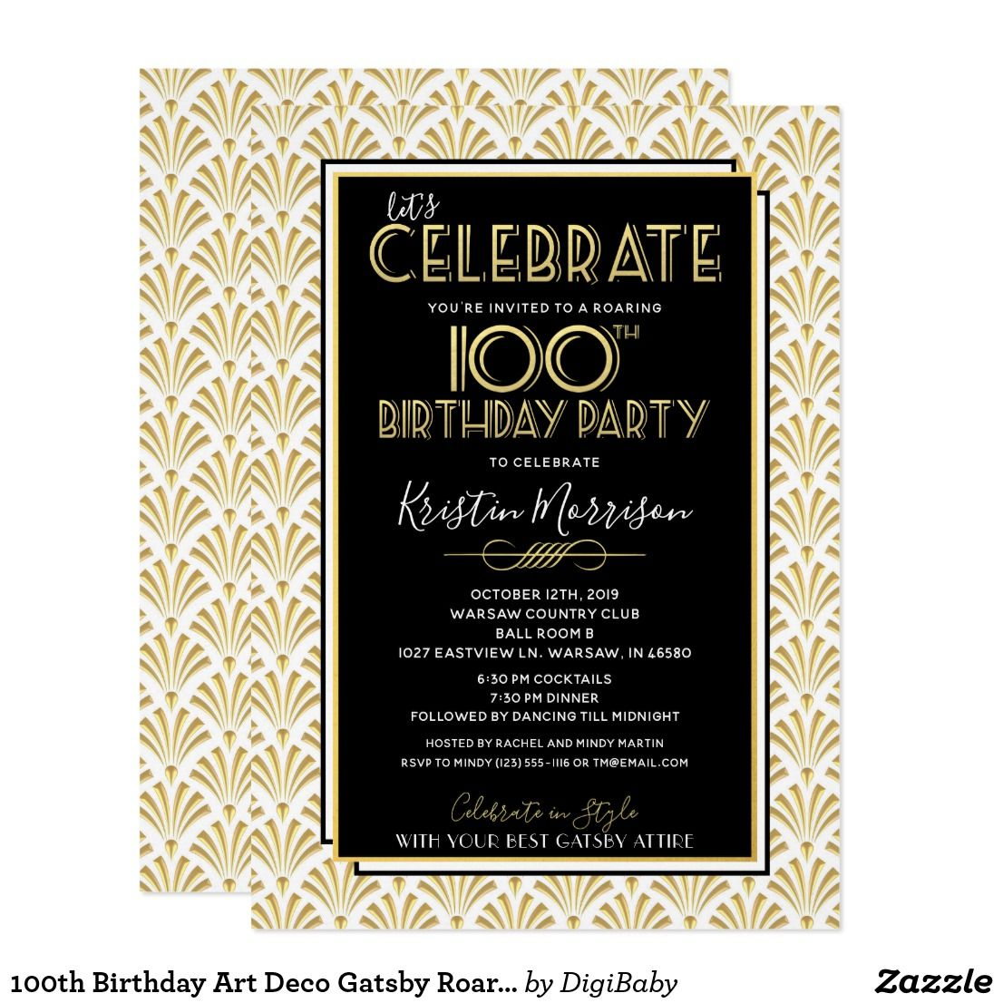 100th Birthday Art Deco Gatsby Roaring 1920s Party Invitation Zazzle Com 1920s Party Invitations Roaring 1920s Party Art Deco Party