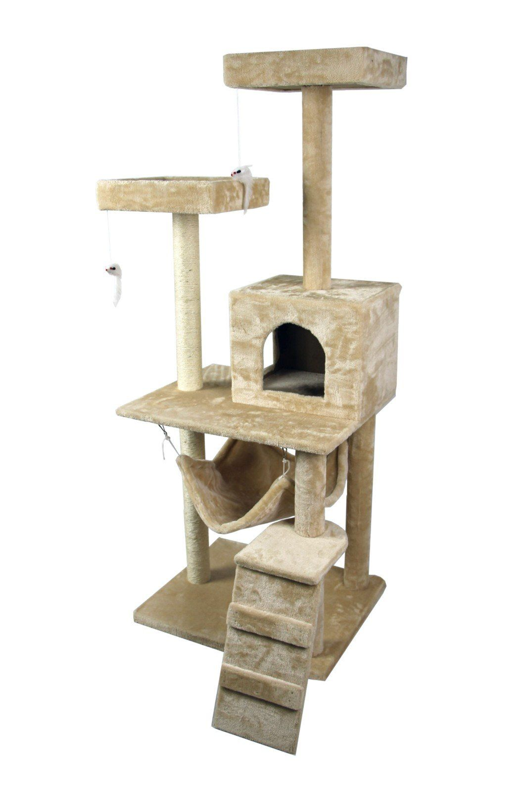 ForestInLA 59 High Cat Tree Tower Condo Furniture Scratch Post Kitty Pet  House Play Furniture Sisal Pole Stairs And Hammock Beige By HIDING ***  Check This ...