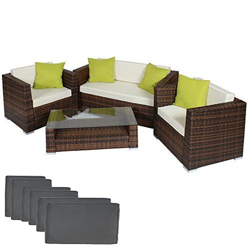 TecTake Luxury Rattan Aluminium Garden Furniture Sofa Set Outdoor