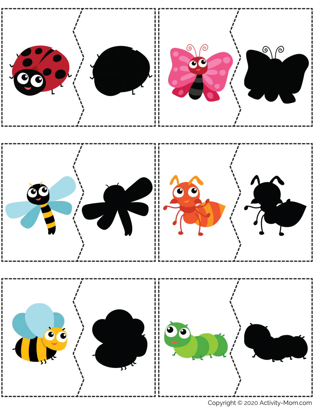 Insect Shadow Matching Puzzle