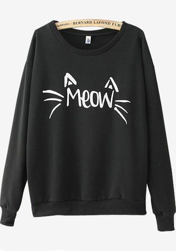 Black Cute Cat Print Long Sleeve Round Neck Casual Sweatshirt ...