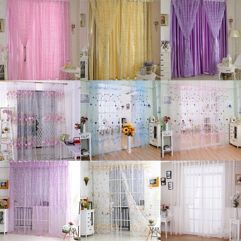 1 44 Aud Colorful Printed Sheer Curtain Panel Window Balcony