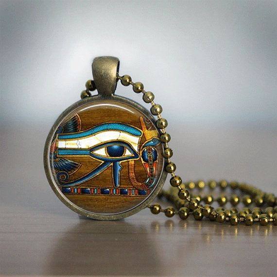 Glass Tile Necklace Eye of Horus Necklace Egyptian Necklace Egyptian Eye Glass Tile Jewelry  Egytian Jewelry Black Jewelry Black Necklace on Etsy, $10.00