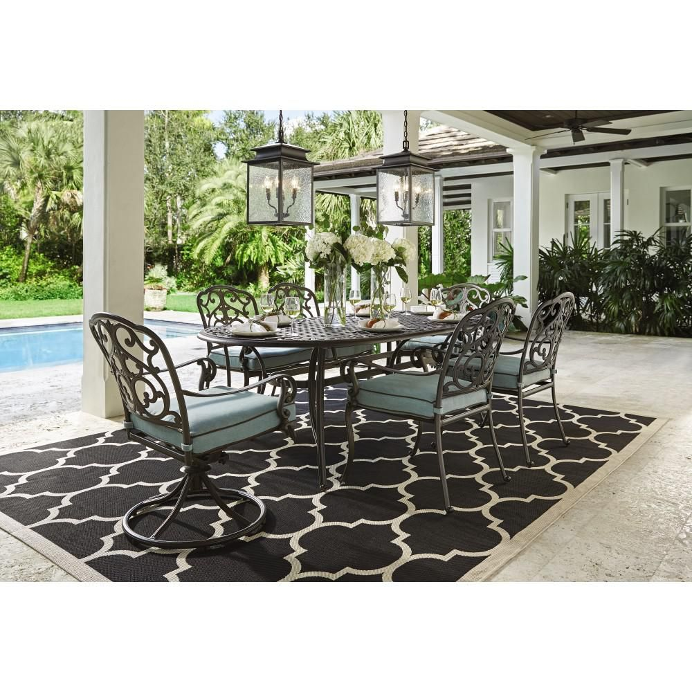 Attractive Home Decorators Collection Outdoor Madrid 7 Piece Patio Dining Set In  Bronze And Bermuda