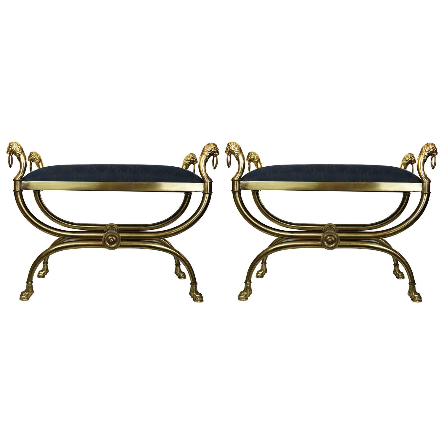 Pair Regency Style Brass Ottoman Benches From