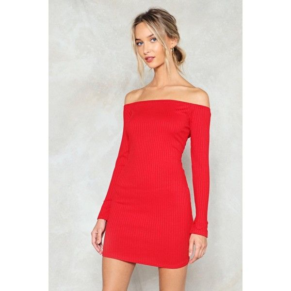 c589e7664fb Nasty Gal On and Off Ribbed Off-the-Shoulder Dress ( 24) ❤ liked on ...