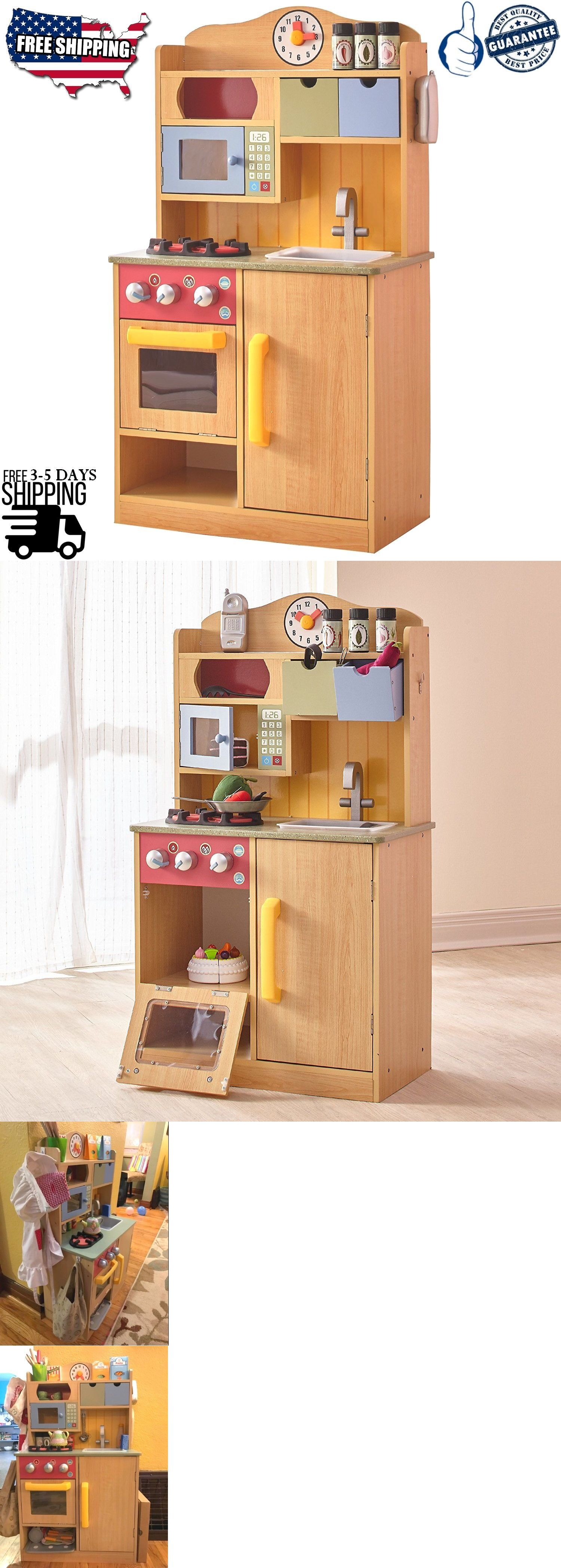 Kids Cooking Pretend Play Toy Wooden Kitchen Set Children