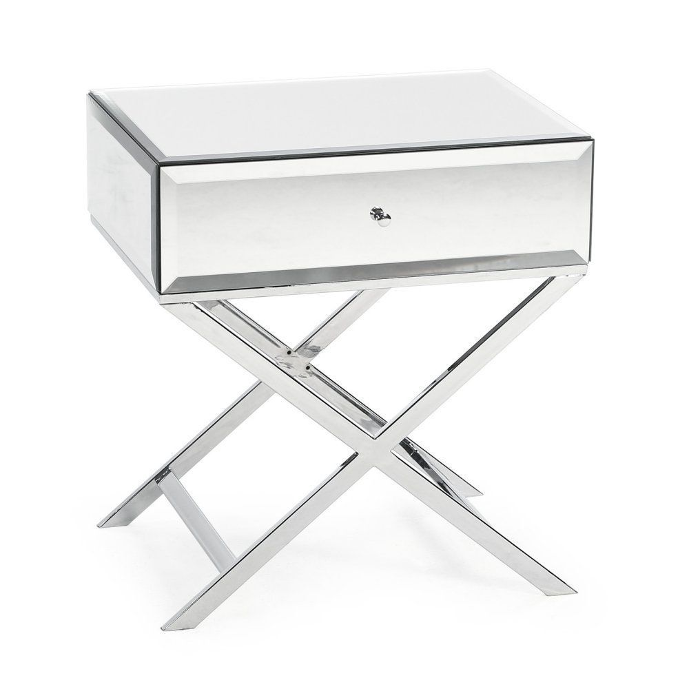mirrored side table. Mirrored Side Table With Drawer Sofa Glass Top Accent Beveled Nightstand New D