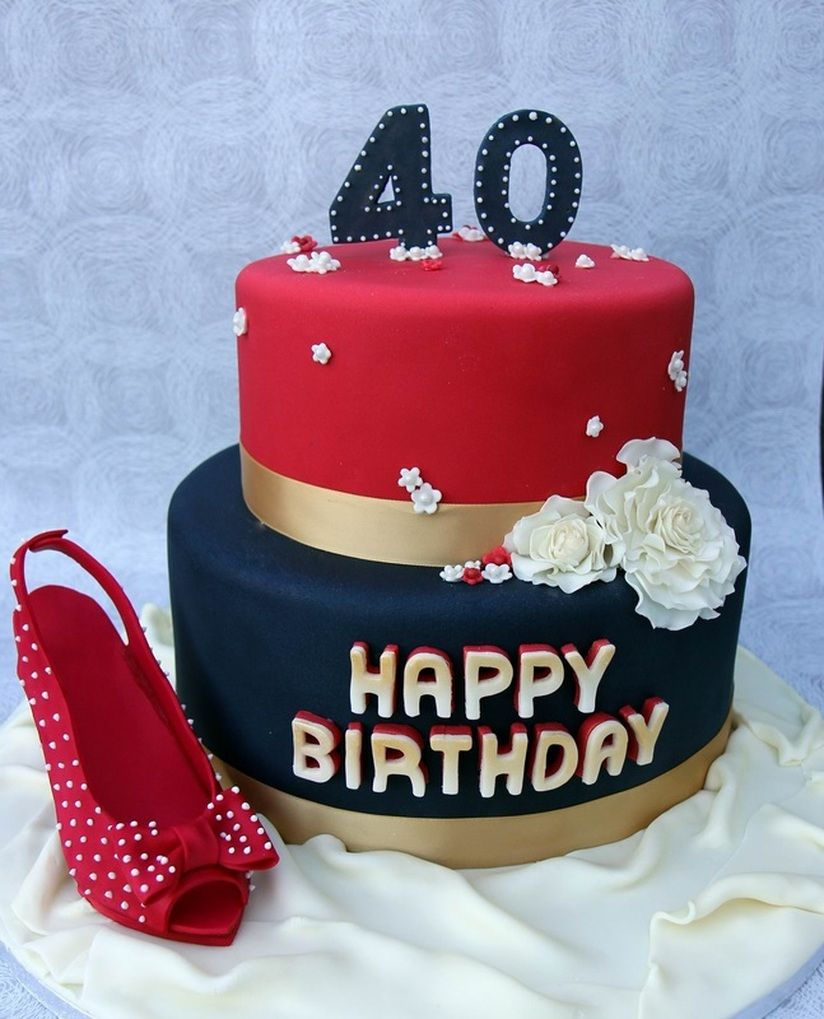 40th Birthday Cake with handmade shoe and flowers httpwww