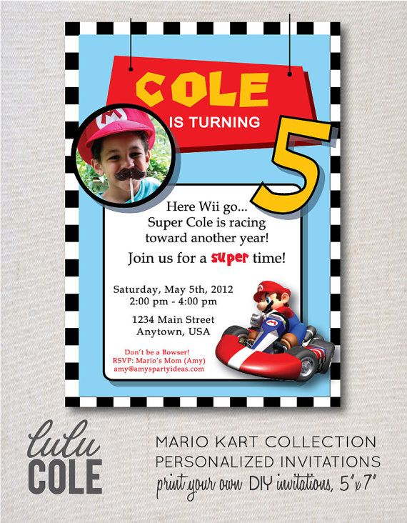 Mario Kart Personalized Party Invitation mario kart birthday