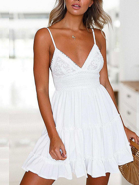 White Spaghetti Strap Plunge Lace Panel Bow Back Mini Dress Choies Com Backless Mini Dress Summer Dresses For Women Print Chiffon Dress [ 1500 x 1125 Pixel ]
