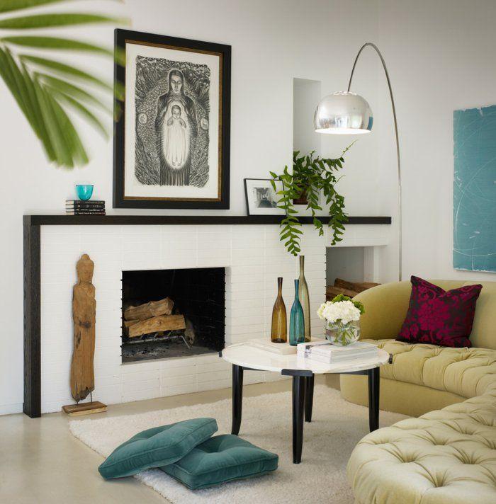bodenkissen wohnzimmer dekoideen kamin Dekoration - Decoration - deko ideen wohnzimmer