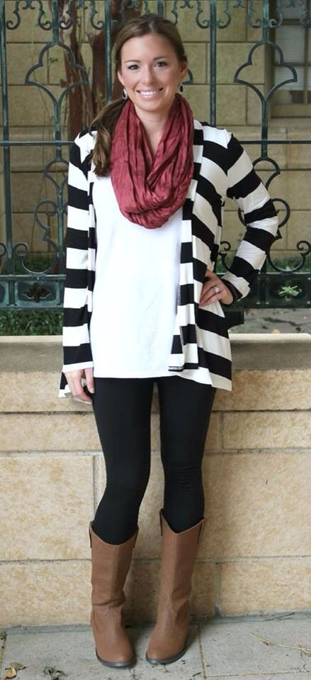 a4635cb8067 Black   White Cardigan with Leggings and Red Scarf