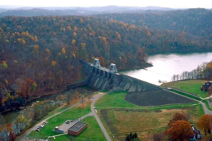 1965 Allegheny Dam under Construction Cement Mixing Plants