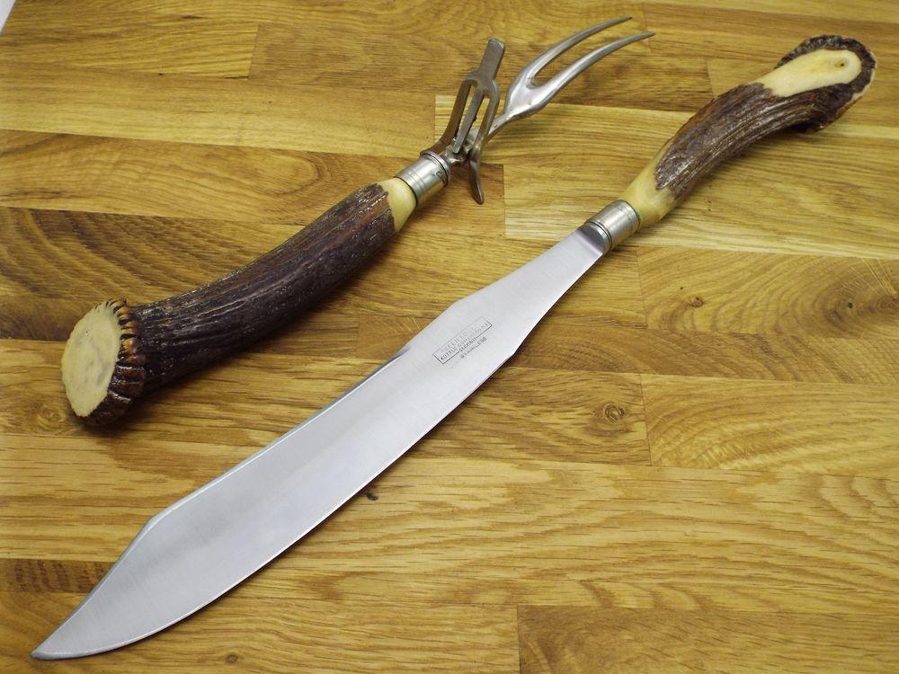 Vtg german stag razor sharp carbon steel carving knife