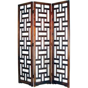 Sri Lanka Mahogany 3 Panel Wood Room Divider Screen CNC