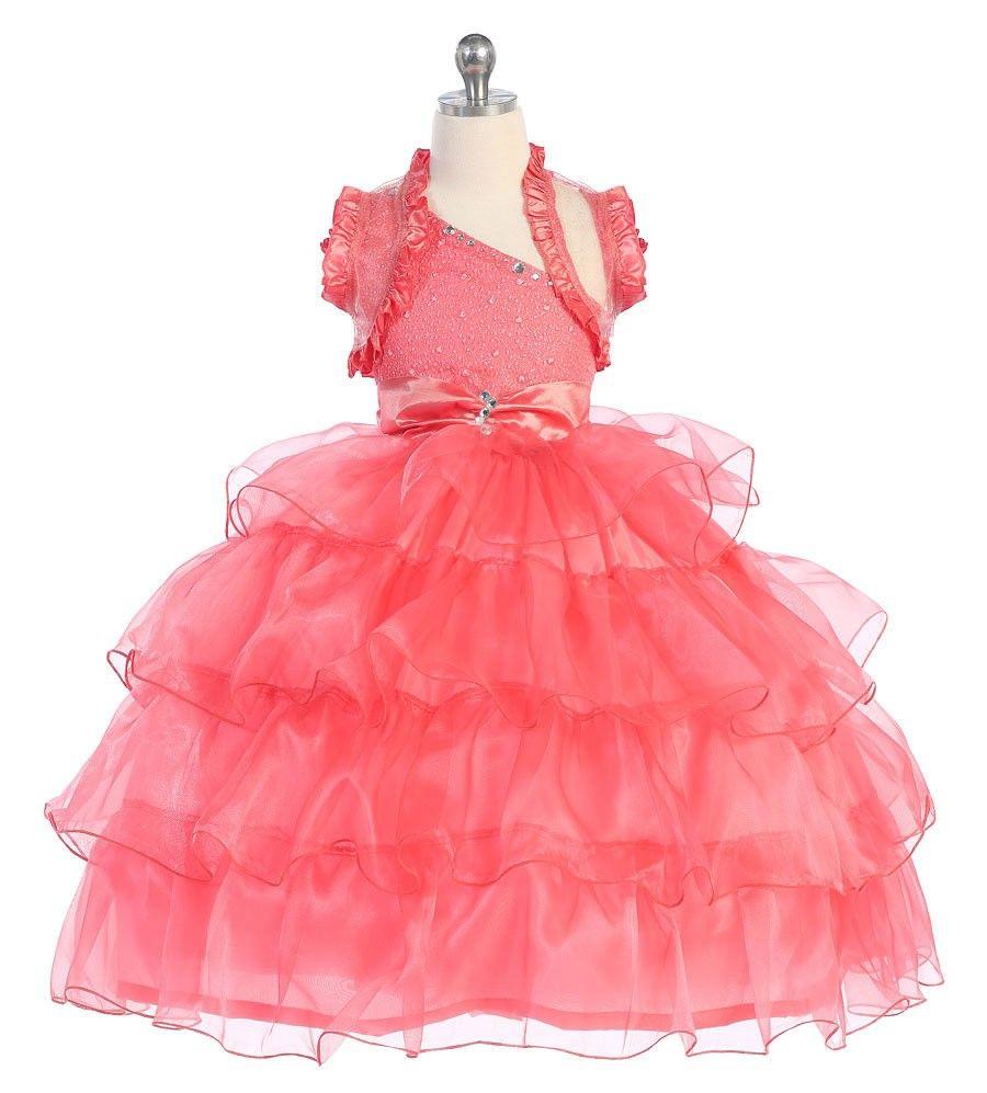 Crystal coral pageant dress jewels u ruffles crystal jeweled