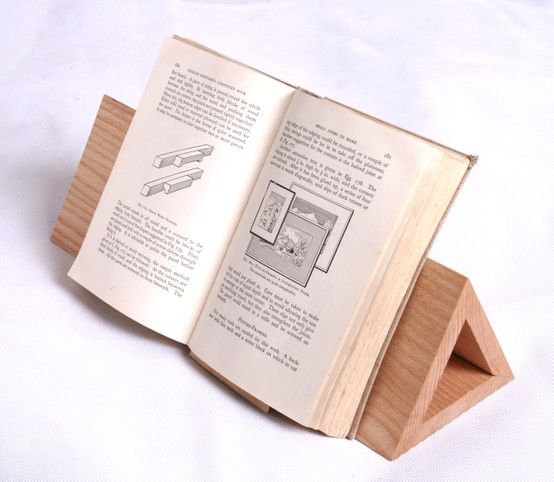 hand made wooden book stand idea for holding up recipe books in the kitchen