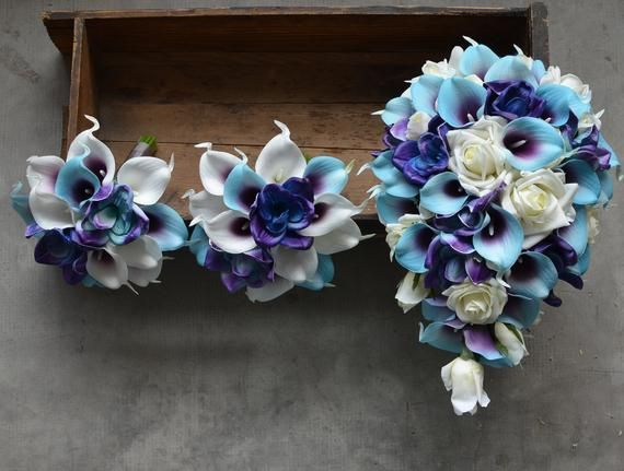 Calla Lily Wedding Bouquets, Blue Purple Bouquets, Silk Bridal Bouquets, Real Touch Flowers, Roses, #fantasticweddingbouquets