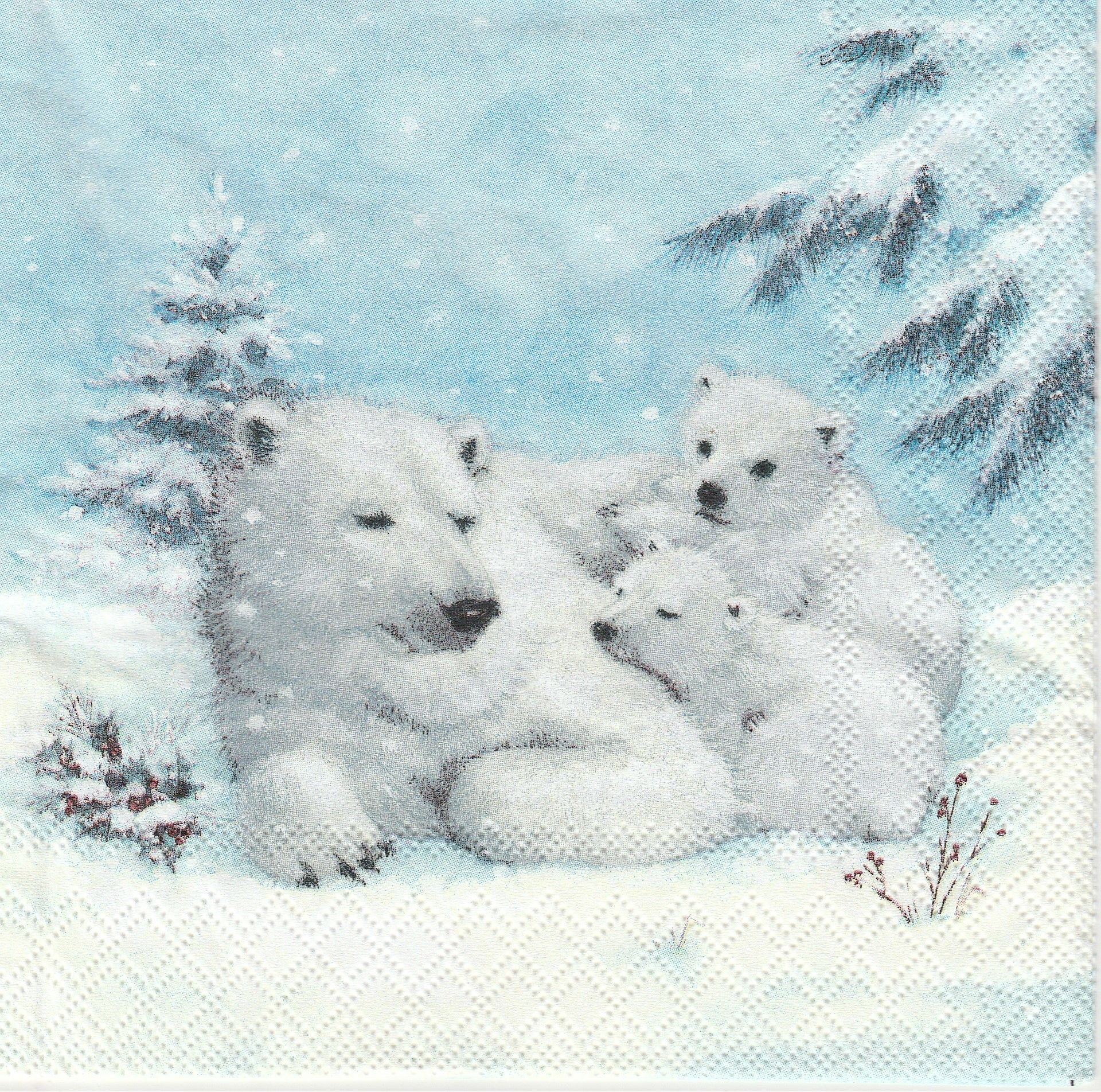 Hedgehog in Snow 4x Paper Napkins for Decoupage Craft and Party