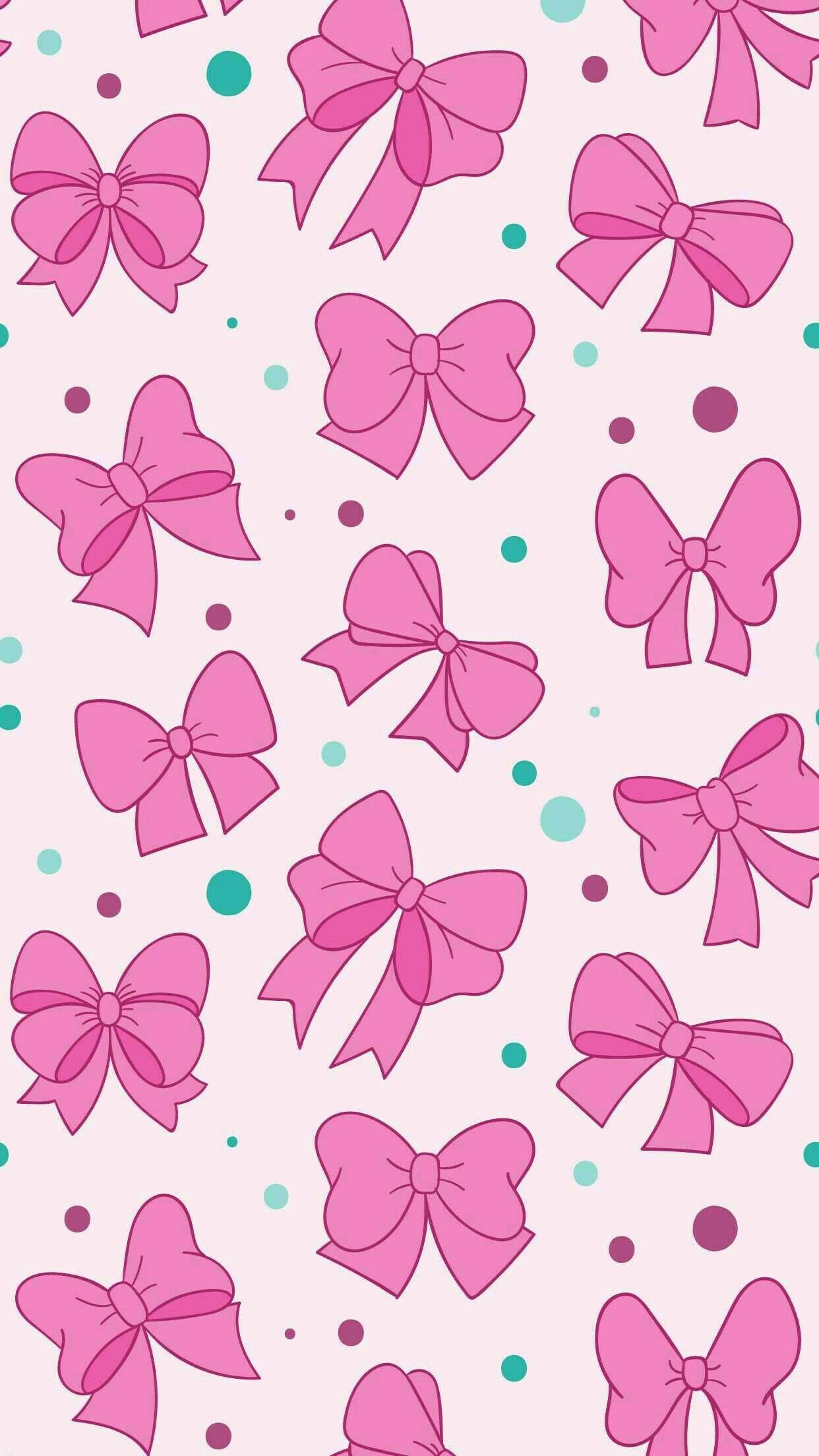 Bows And Polka Dots Girly Pink And Green Print Pattern Bow Wallpaper Bow Wallpaper Iphone Iphone Wallpaper