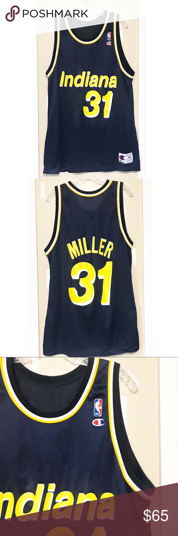 on sale 7ddae 35175 Retro Reggie Miller Indiana Pacers B-ball Jersey Excellent ...