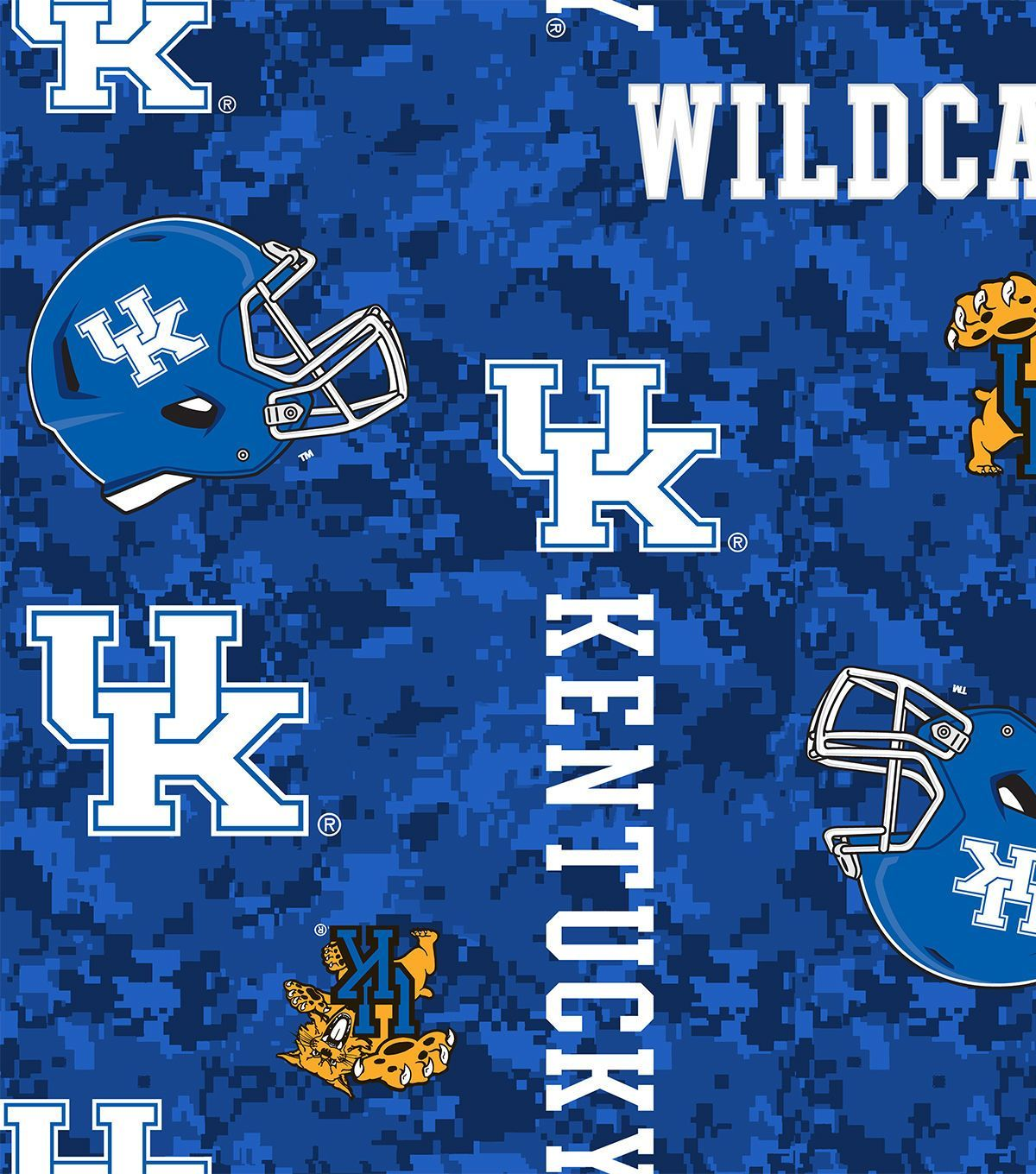 University of kentucky wildcats fleece fabric uu digital camo