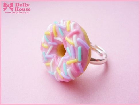 Sweet kawaii pink frosting Donut Ring by Dolly by SweetDollyHouse