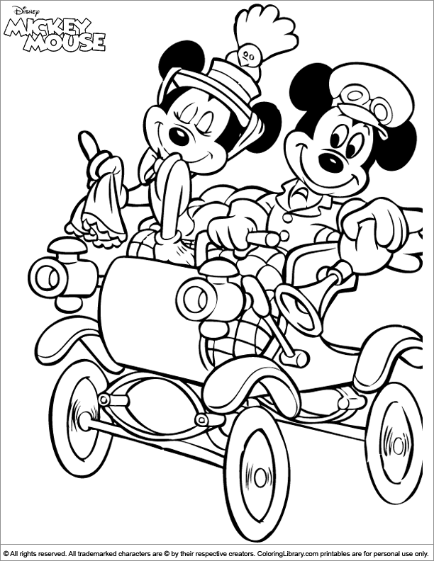 Mickey Mouse Coloring Page Mickey Showing Off His Car To Mini Mickey Mouse Coloring Pages Minnie Mouse Coloring Pages Mickey Coloring Pages