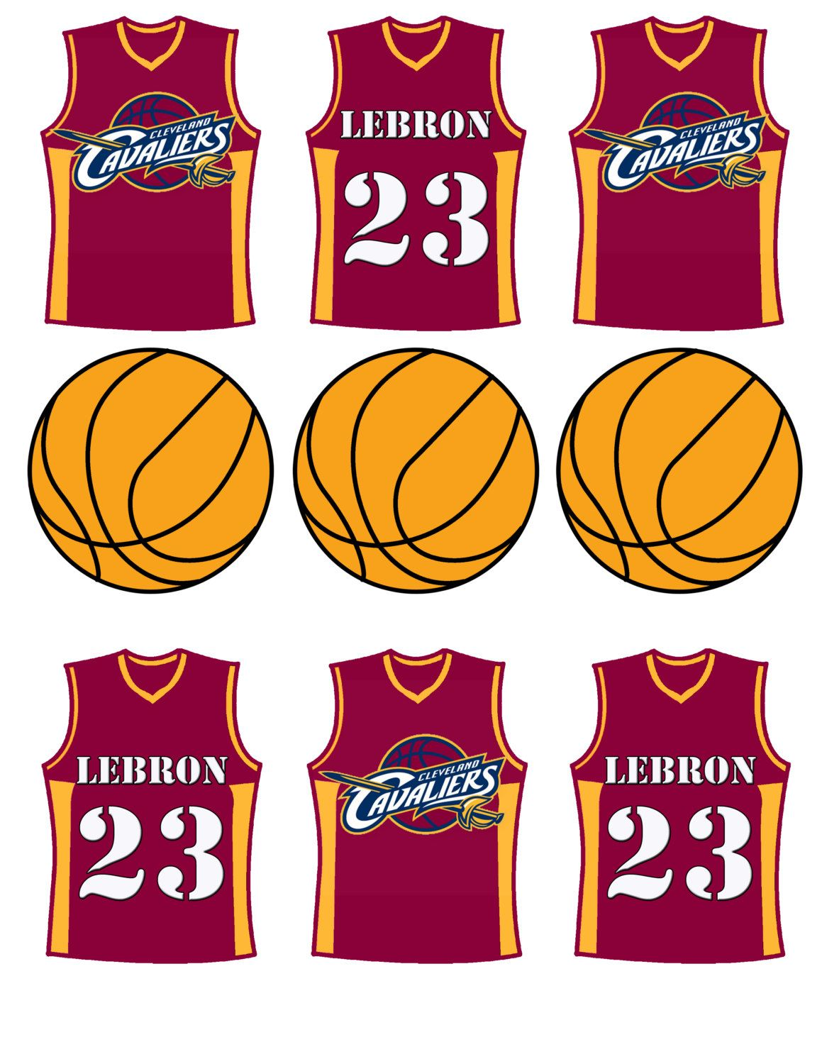 Cleveland Cavaliers Basketball Cupcake Toppers By