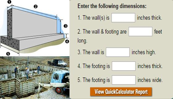 Quick Calculator For Concrete Wall And Footings Concrete Wall Design Build Firms Concrete