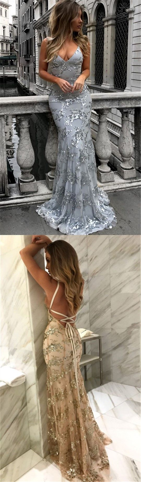 Sexy V-neck Long Mermaid Prom Dresses, Affordable Tulle Lace Prom Dresses,PD190342