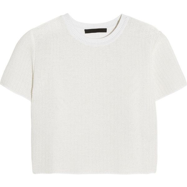 Alexander Wang Technical Tweed top (2.095 NOK) ❤ liked on Polyvore featuring tops, t-shirts, shirts, crop tops, white, loose white t shirt, crop shirt, loose t shirt, tee-shirt and crop tee