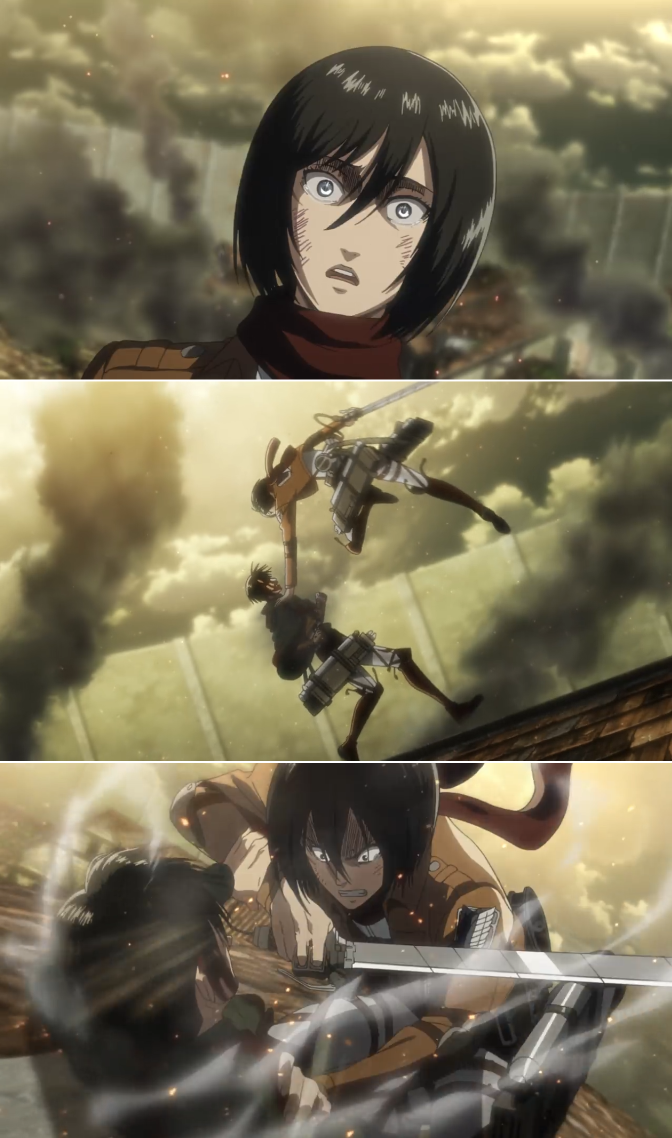 Mikasa vs Levi AoT season 3 Attack on titan anime