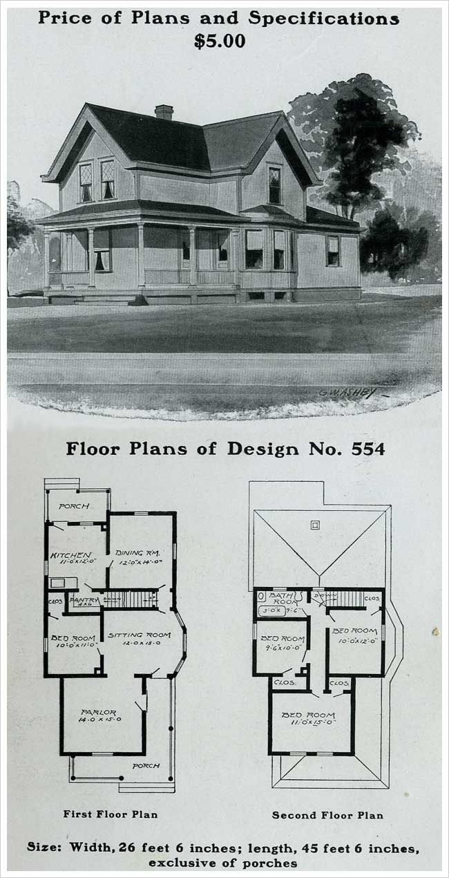 Radford 1903 Queen Anne Cottage Wrapped Porch Farmhouse Floor Plans House Blueprints Farmhouse Plans