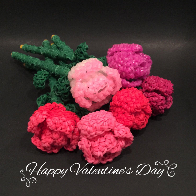 Rose Rubber Band Figure, Rainbow Loom Loomigurumi, Rainbow