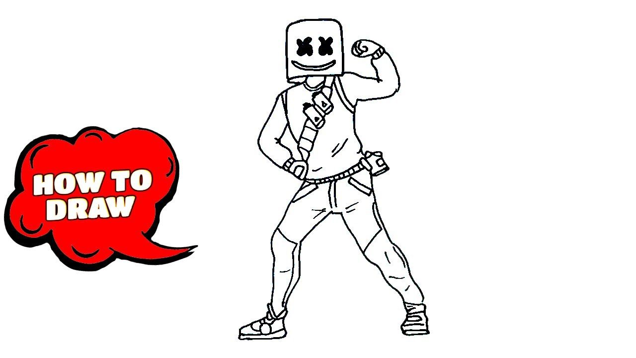How to draw fortnite characters Marshmello skin step