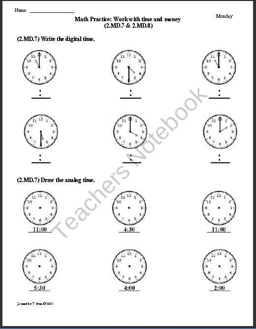 2.MD.7 & 2.MD.8 Time & Money - 2nd Grade Common Core Math Worksheets ...
