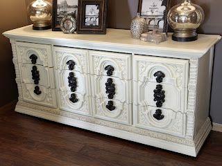 Vintage dresser chalky painted ivory and glazed      http://www.restorationredoux.com/?p=19