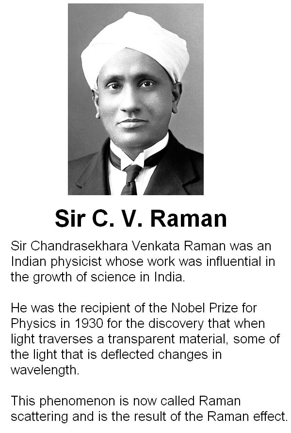 Inventor of the Raman Effect Sir Chandrasekhara Venkata