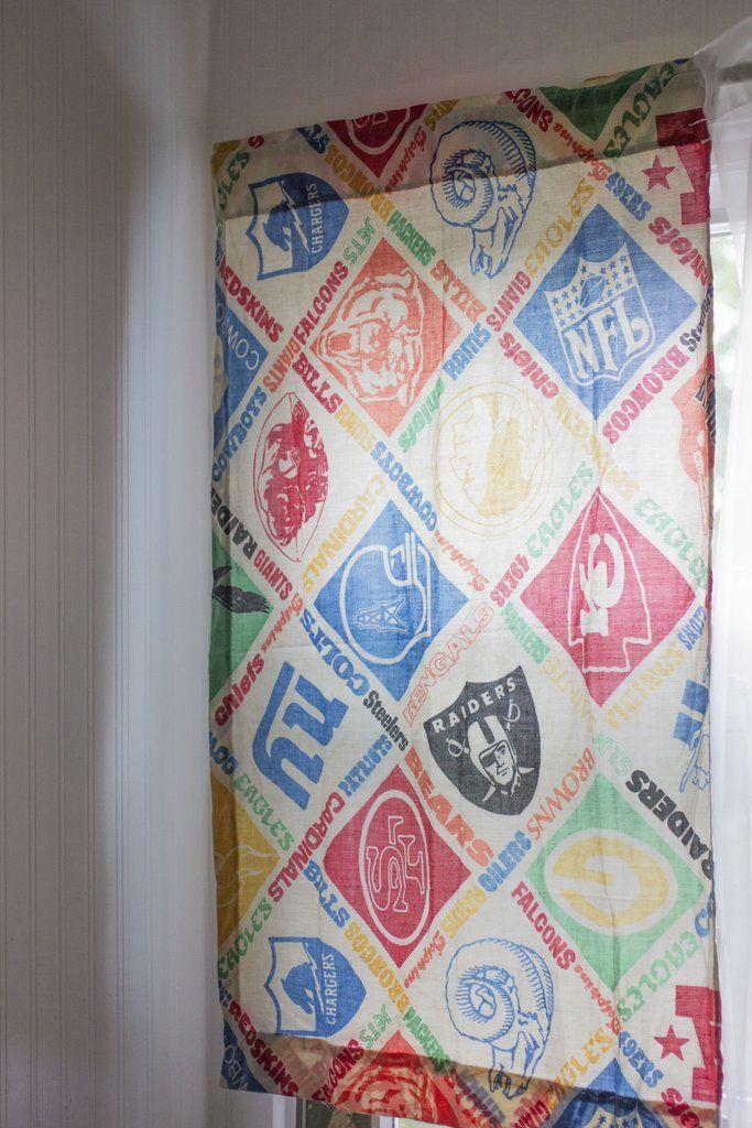 Captivating Vintage NFL Curtains   Retro 1970u0027s Football   Sports Boys Room