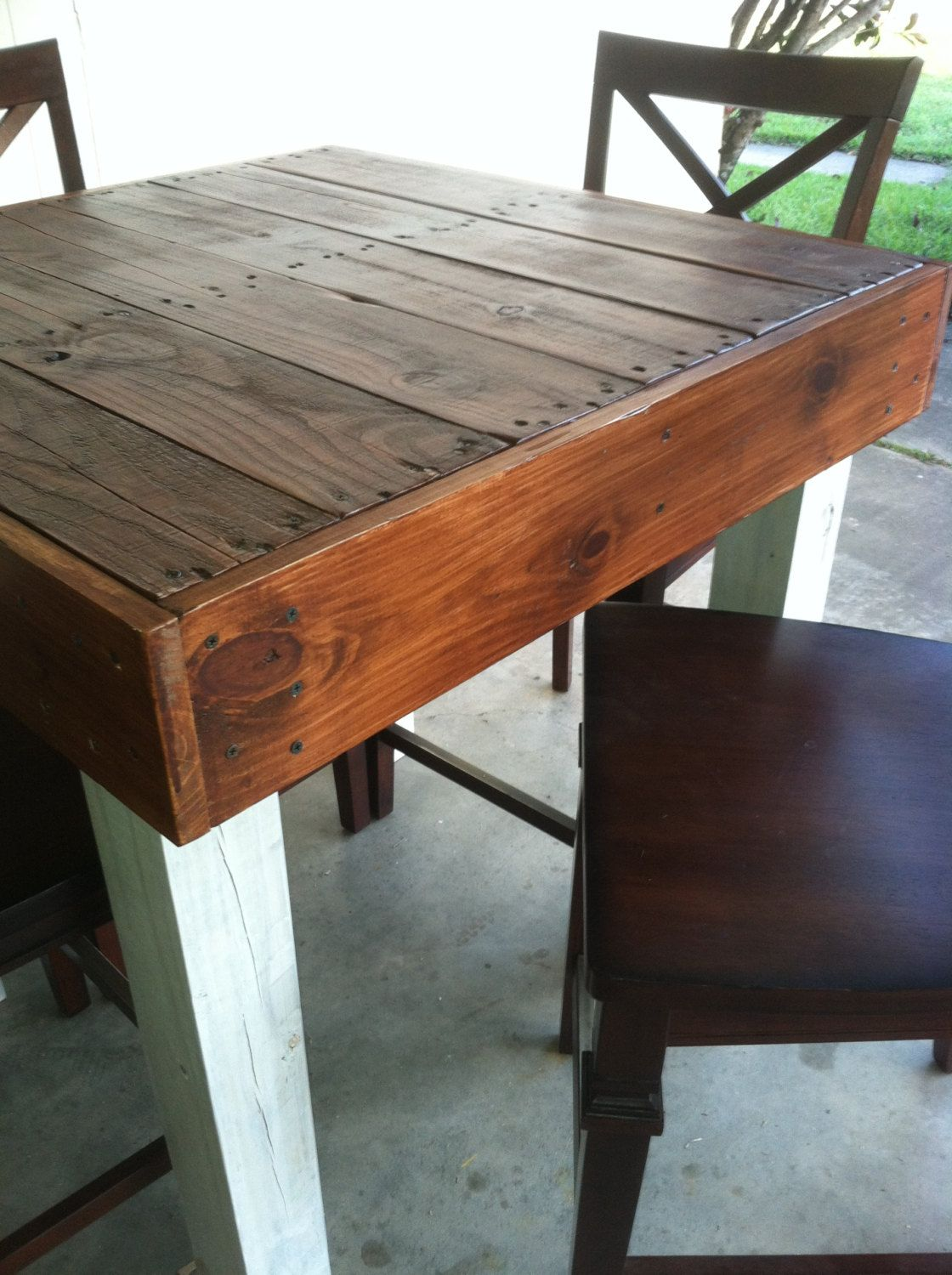 Reclaimed wood dining table upcycled pub size pallet for Upcycled dining table