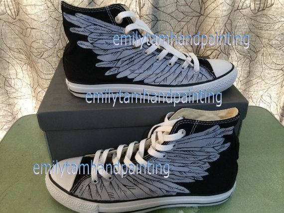 Wings on Shoes Hand Painting Wings on