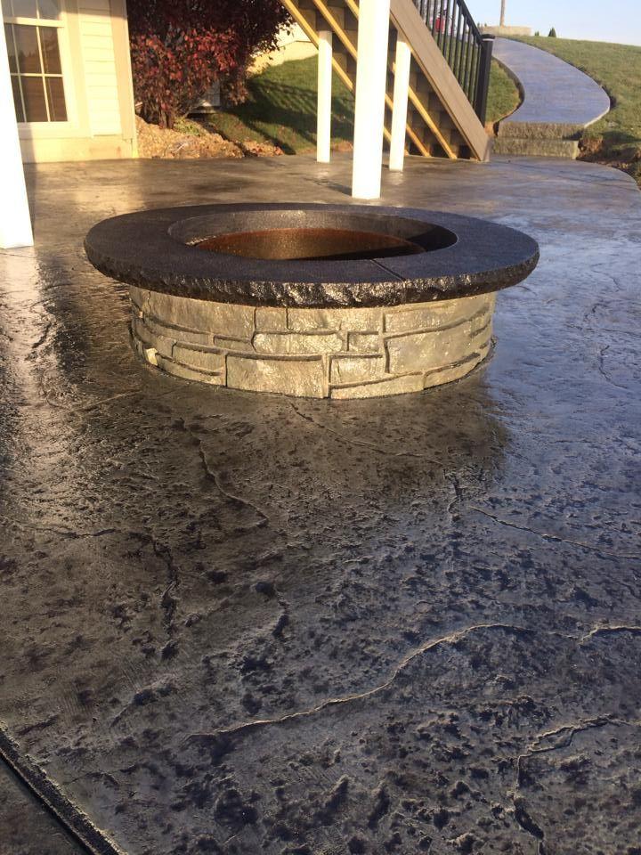 Outdoor Decorative Stamp Concrete FirePit | Backyard fire, Custom fire pit, Fire pit