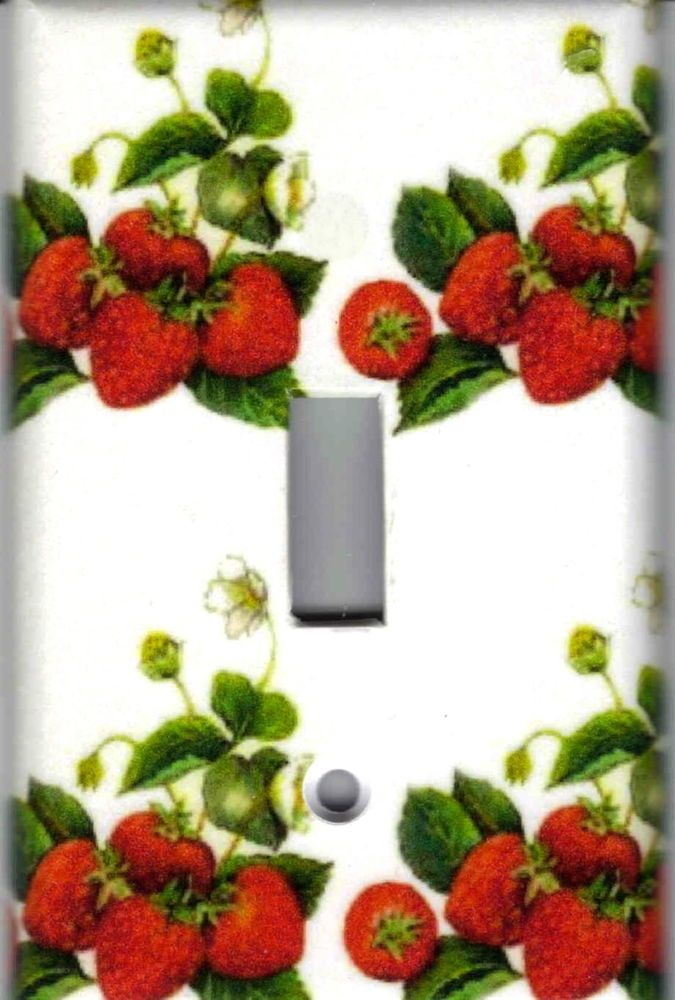 Strawberries Fruit Home Decor Single Light Switch Plate Cover Strawberry Kitchen Strawberry Decorations Wall Decor Lights