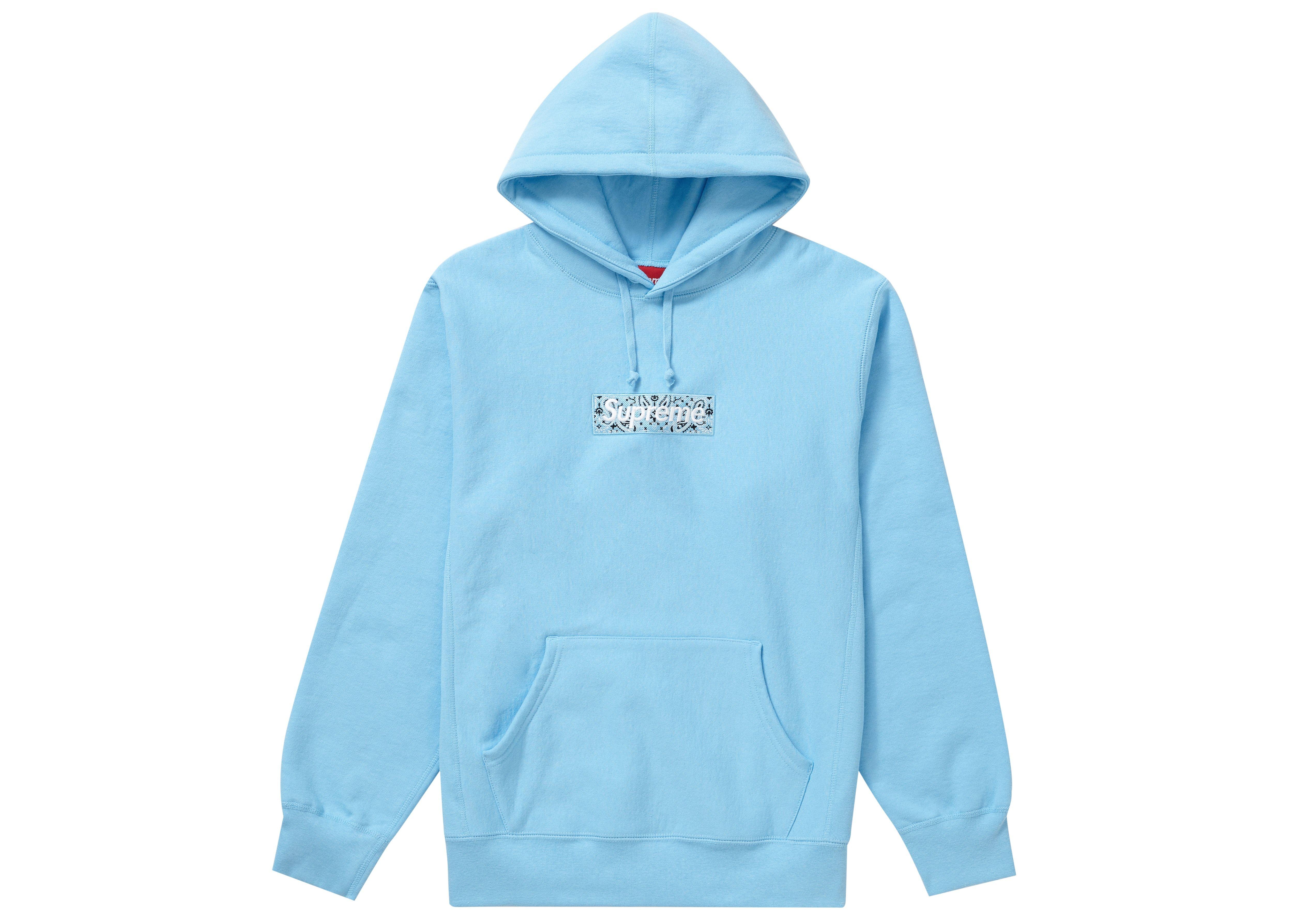 Supreme Bandana Box Logo Hooded Sweatshirt Light Blue In 2021 Supreme Hoodie Sweatshirts Hooded Sweatshirts [ 3575 x 5006 Pixel ]