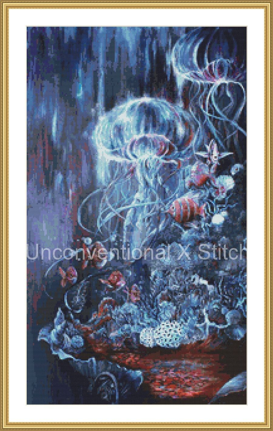 Fish and jellyfish cross stitch pattern - modern counted cross stitch - August and Abyssal Extract - Licensed Angela AK Westerman by UnconventionalX on Etsy