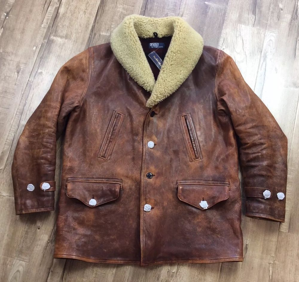 Vtg Polo Ralph Lauren Men Shearling Hand Distressed Cowhide Leather Jacket Coat Leather Jacket Polo Ralph Lauren Mens Clothes [ 943 x 1000 Pixel ]